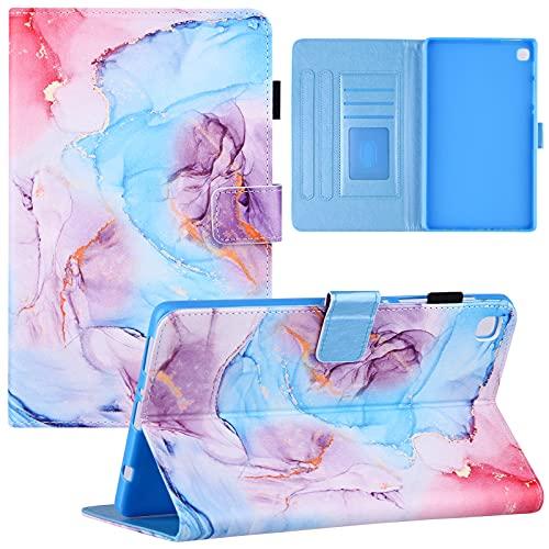 YKTO Funda Folio para Samsung Galaxy Tab A7 Lite 2021 T200/T225 Protectora Flipper Cover Completa Tapa Libro PU Case Flipper Cover Completa Carcasa de Cuero PU Cuero Bolsillo de Tarjeta, Azul marmol