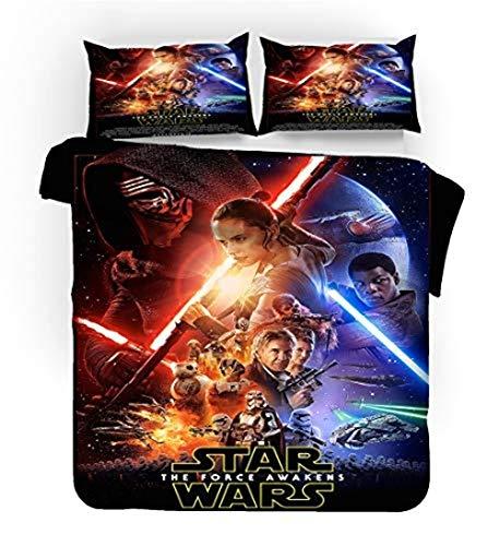 XWXBB Star Wars 9 The Rise of Skywalker Parure de lit avec housse de couette et deux taies d'oreiller en microfibre, ensemble de 3 pièces, épais et doux, a12, Single 135x200cm