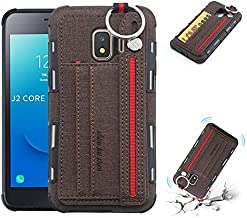 For Samsung Galaxy J2 Core Case, Retro Durable Canvans Back Cover with Dual Card Slots for Samsung Galaxy J2 Core (Color : Brown)