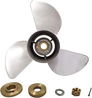 High Polished Stainless Steel 3 Blade Outboard Propeller(with All Kits) for Honda 75-100HP