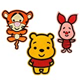 Baby Winnie The Pooh, Tigger & Piglet Iron on Patches for Clothes Kids, 3 Embroidery Applique Fabric Patches Sew on Badges Pack for Children Jeans Jackets, DIY Personalised Gifts Children Party Bags