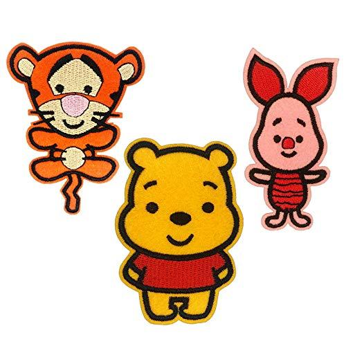 Toppa Termoadesiva Bambini Cartoni Winnie – 3 Toppe da Cucire Baby Winnie Pimpi Tigro Ricamate Piccole Bambino Neonato Patch Termoadesivi Bimbo Applicazioni da Stirare Pantaloni Zaino Piumino