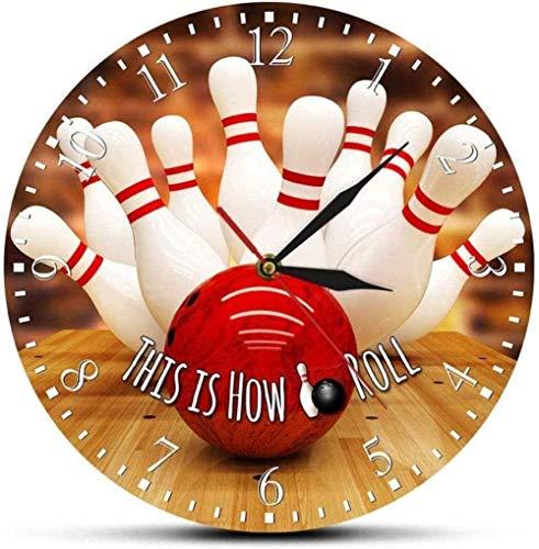 NIUMM Reloj De Pared So I Roll Bowling Reloj De Pared Silent Ticking Bola De Bolos Y Bolígrafos Decoración del Hogar Reloj Reloj De Pared Bowler Gift Silent Fácil De Leer