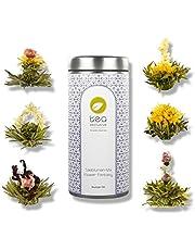 """tea exclusive - Theebloemenmix """"Flower Fantasy"""", 6 verschillende theebloemen in een mooie metalen doos, met fotoboekje en spreuken - groene en witte thee met jasmijn, roos, pioenroos, goudsbloem, Osmanthus, hibiscus - theegeschenk voor ..."""