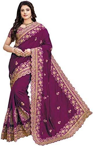 Niza Fashion Women's Plain Weave Silk Saree With Blouse Piece