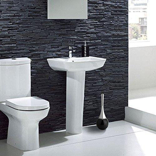 Surebuy Cepillo de baño, Cepillo de baño para baño, Mango de plástico con Soporte para Cepillo de baño con Base de Acero Inoxidable para Limpieza del hogar(Black Base, White)