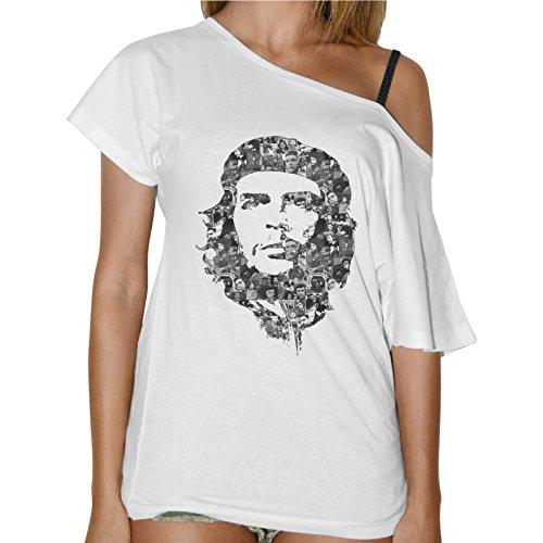 maglia che guevara thedifferent T-Shirt Donna Collo Barca Ernesto Che Guevara Faccia Multi Foto - Bianco