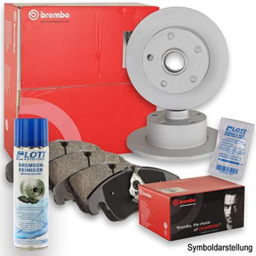 Preisvergleich Produktbild Original Brembo Bremsscheiben hinten + Brembo Bremsbeläge Bremsklötze Bremsenset Bremsenkit Komplettset Hinterachse + Bremsenreiniger
