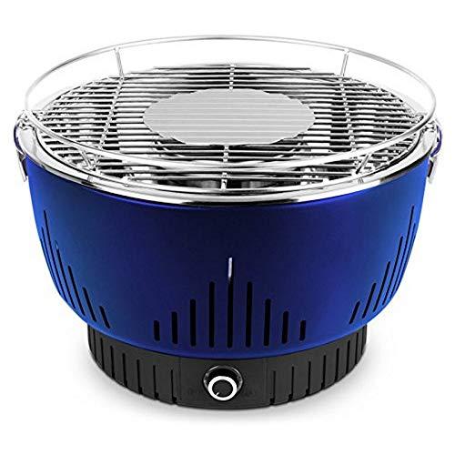 MEDION Holzkohlegrill mit Aktivbelüftung, regelbarer Ventilator, Temperaturregler, Grillrost aus rostfreiem Edelstahl, Abnehmbare Fettauffangschale, MD 17700, Blau