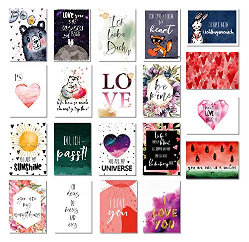 20er Postkarten Set Liebes Postkarten - Liebe, Freundschaft, Geburtstag, Valentinstag - DIN A6 - 20 verschiedene liebevolle Motive