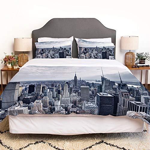 LENYOVO Juego de Funda nordica,Ropa de Cama,Cityscape New York City Skyline Panoramic Picture,Microfibra,Edredon 220x240cm con 2 Fundas de Almohada 50x80cm