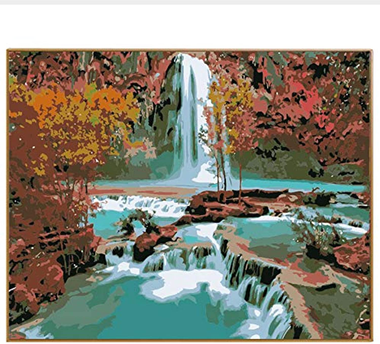 DIY Hand Painted Wall Decoration Picture Painting By Numbers Waterfall Forest Landscape Digital coloring Paint On Canvas Art, Framed, 50x60cm