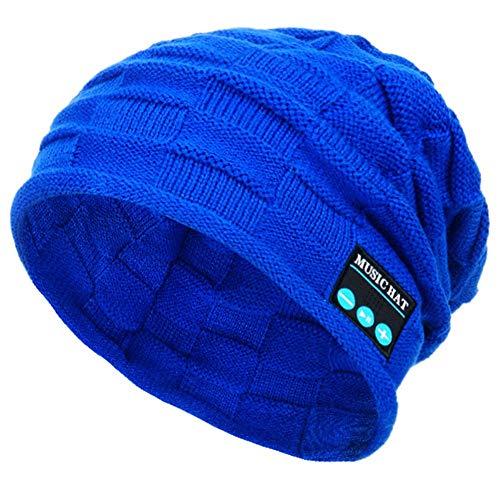 Weimilon Gorro De Invierno Inalámbrico Micrófono para con con Bluetooth Hombre Estilo único Incorporado Estéreo Manos Libres Unisex (Color : Blau, Size : One Size)