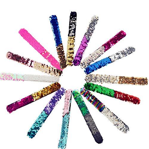 BJ-SHOP Pailletten Armband, Meerjungfrau Armbänder für Party Pailletten Armbänder Slap Armbänder Kinder Erwachsene für Geburtstagsfeier Geschenke