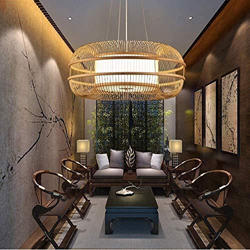 NZDY Pantalla de Ratán Hecha a Mano Colgante Colgante Luz de Luz Corredor Corredor de Techo de Bambú Lámpara de Suspensión Moderno Creativo Pastoral Restaurante Chandelier Sala de Estar Lámpara Colga