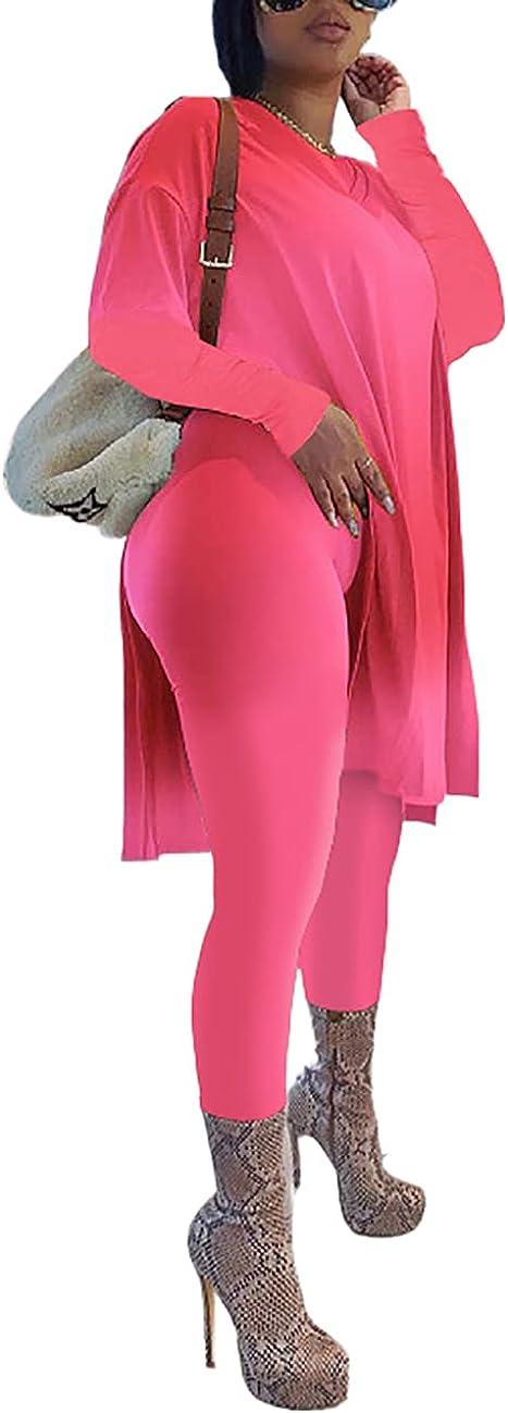 Somliz Women's Plus Size 2 Piece Outfits Loose Long Sleeve Split Shirt Tops Bodycon Leggings Tracksuit Clubwear Sets