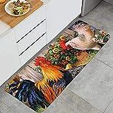 DUILLY Sunflower and Rooster Anti Fatigue Kitchen Mat Natural Fiber Standing Mat Non-Slip Kitchen Rug