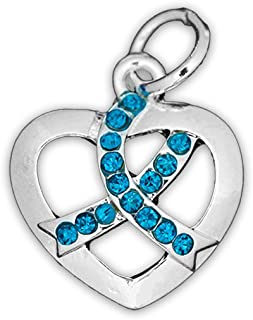 Ovarian Cancer Awareness Teal Crystal Ribbon Heart Charm