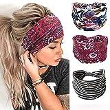 Turban Boho Headband for Women 3 Pack Wide Stretch Twist Head Wraps Flower Printed Hair Band Fashion Yoga Sport Elastic Hair Accessories