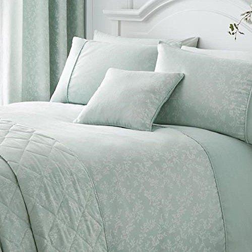 Serene - Ebony - Floral Trail Cushion Cover - 43x43 cm , Duck Egg