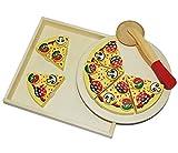 alles-meine.de GmbH 9 TLG. Schneide - Pizza mit Pizzaschneider - und Tablett Holz Spiel Küche Zubehör - Kinderküche Kaufmannsladen Holzpizza - zum Schneiden - Restaurante für Kin..