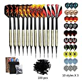Sinwind Soft Darts Set, 12 Pcs Soft Tip Darts, 42 Flights and 100 Soft Tip Points for Electronic Dartboards