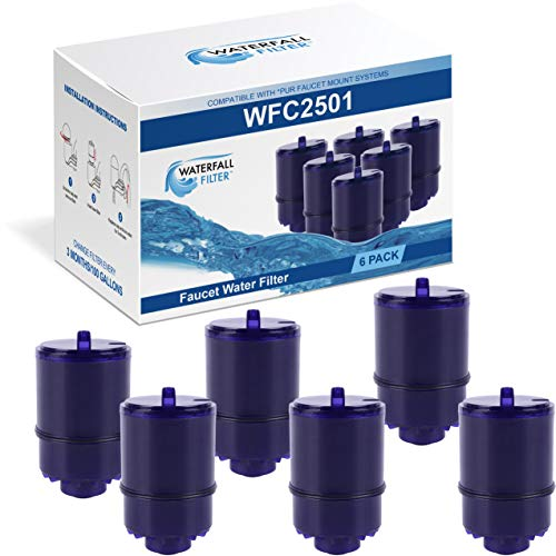 Waterfall Filter - 6 Pack of Faucet Water Filter Replacement for PUR RF9999. Compatible with PUR Classic, Advanced and Horizontal Faucet Mounts Coconut Activated Carbon Removes Chlorine, Bad Taste.