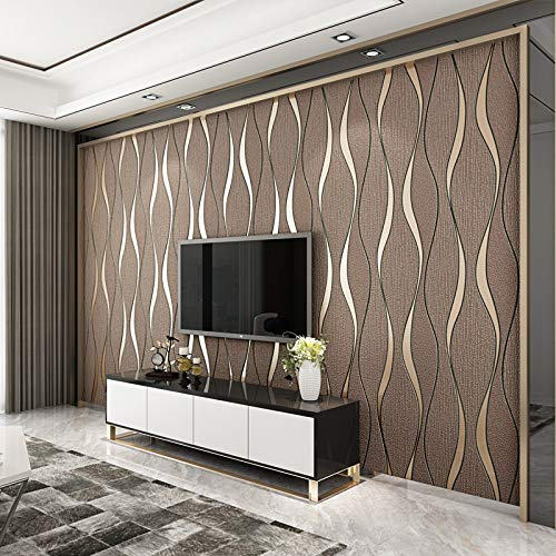 3D Vintage Brown Wallpapers Soft Touch Geometric Stripes Wallpaper for Living Room Feature Wall 53 X 1000 cm