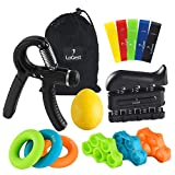 14 Pack Hand Grip Strengthener Set Forearm Adjustable Resistance Hand Gripper, Finger Exerciser, Finger Stretchers, Grip Rings Hand Exerciser, Stress Relief Grip Ball, Finger Bands Hand Strengthener
