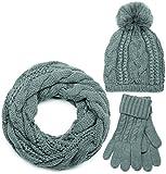 styleBREAKER conjunto de chal, gorro y guantes, chal de punto con motivo trenzado con gorro con pompón y guantes, señora 01018208, color:Gris/Bufanda circular/cuello