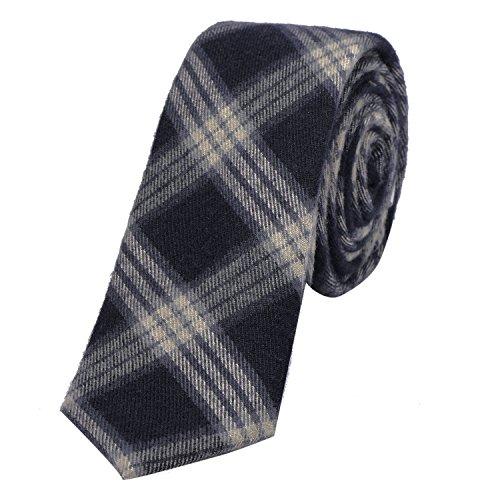 DonDon DonDon Herren Krawatte 6 cm Baumwolle dunkelblau-creme kariert