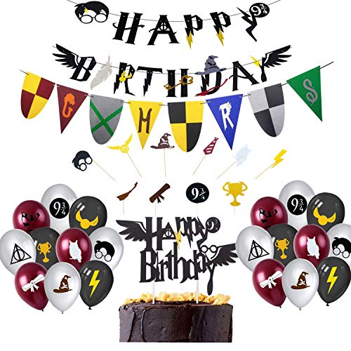 BlinBlin Harry Potter Wizard suministros para fiesta de cumpleaños, Wizard Happy Birthday Mugle Banner, Magic Academy Burgee Felt Banner, Wizard Globos para, Wizard HP Theme Party Decoraciones