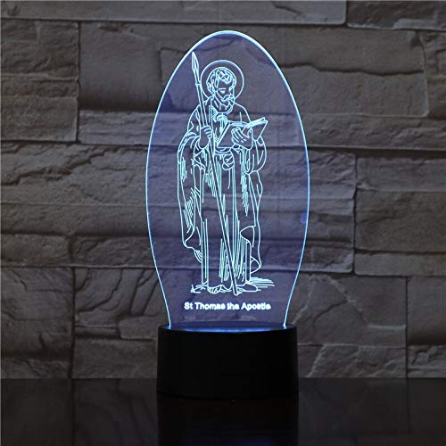 LIkaxyd St. Thomas Apôtre 3D Acrylique Led Veilleuse Illusion Home Decor Optique Lumière Éclairage Usb Touch Veilleuse Nouveauté Cadeau