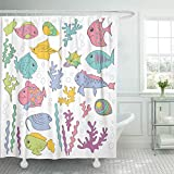 lovedomi Cortina de ducha de animales acuáticos de dibujos animados peces y algas marinas blanco acuarios cortinas de ducha con 12 ganchos de 172 x 72 pulgadas, tela de poliéster impermeable