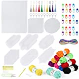Pllieay 117 Pieces Mesh Plastic Canvas Kit Including 43 Pieces Clear Plastic Canvas Sheets, 12 Color Acrylic Yarn, Embroidery Tools and Trinkets for Embroidery Plastic Canvas Craft