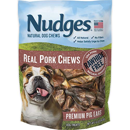Nudges Real Pork Chews Smoked Pig Ears, 16 Ounce