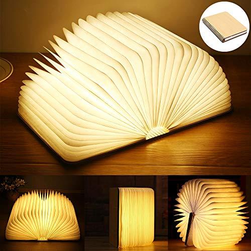 Lampada Libro USB Ricaricabile, Lampada a Forma di Libro, Luce LED di Legno, Decorativi Lampada da Tavolo -2500mAh Grande Lampada a Libro