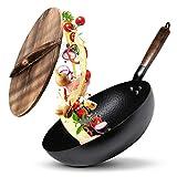 Leafheat Sartén wok con tapa para cualquier cocina (32 cm) de acero al carbono martillado a mano con mango de madera, incluye tapa de madera