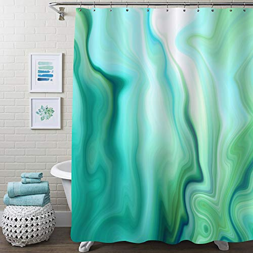 MitoVilla Seafoam Green Ombre Marble Shower Curtain, Abstract Turquoise Mint Lime Green Striped Wave Bathroom Art Print for Green Home Decor, Modern Waterproof Fabric Bathroom Curtain, 50' W x 78' L