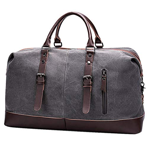 52L Canvas Duffel Bag, Carry on Bag for Men Women Tote Bag Overnight Weekender Bag, Multifunctional Travel Gym Sports Bag, Gray