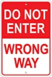 Vintage Metal Sign 8x12 Inch, Do Not Enter Wrong Way Metal Sign Retro Metal Sign Funny Road Wall Metal Sign Retro Home Garage Street Decor New Plaque