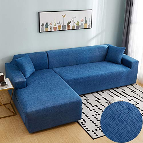ASCV Fundas de sofá en Forma de L para Sala de Estar Material elástico sofá de Esquina Funda de Silla Funda de sofá sofá seccional A1 2 plazas