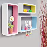 The solid wood material will help you organize Knick knacks, collectibles, plants, candles, CDs, DVDs, books, toiletry, or other necessities that need a home. This set includes 3 square shelves; 1 small(35CMx10CMx15CM), 1 medium(39.5CMx10CMx19.5CM), ...