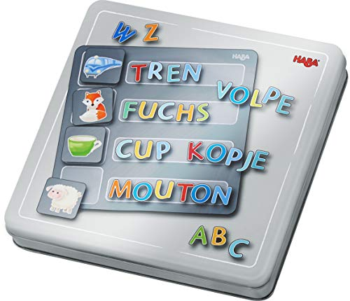 HABA 305049 - Magnetspiel-Box Buchstaben, mit 4 Hintergrundbildern und vielen magnetischen Puzzleteilen, zum Lernen des Alphabets, für Vorschulkinder ab 5 Jahren