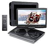 MYDASH Lecteur DVD Portable 12,5 pour Voiture et Enfants, 2020 Nouveau Lecteur CD Portable avec écran pivotant de 10,1 Pouces, Fente pour Carte SD et Port USB,Noir