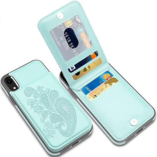 LakiBeibi iPhone XR Cases with Card Holder, Flower Series Slim PU Leather iPhone XR Case for Girls Wallet Flip Full Body Protective Case with Screen Protector for iPhone XR (2018) 6.1 Inches, Mint