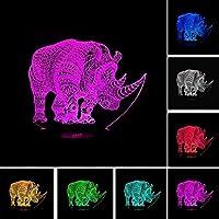 Tatapai 3DナイトライトLEDイリュージョンランプRhinoceros子供カップル家族の寝室のリビングルーム誕生日ホリデーギフトランプ