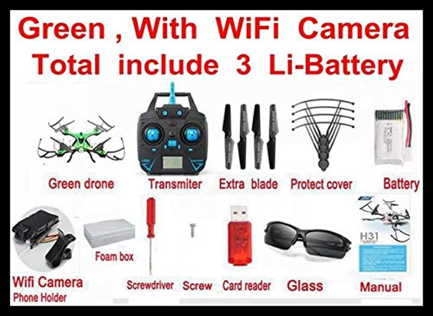 Generic Increase Price Next Month JJRC H31 Waterproof 2.4g RC Drone Helicopter Quadcopter with WiFi HD Camera V syma x5sw x5uw Green H31 WiFi 3B