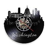 YDDLIE Washington DC Skyline Reloj de Pared Capitol Travel D