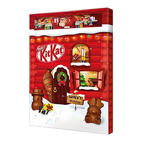 NESTLÉ KITKAT Adventskalender Schokolade mit 3D-Effekt, Weihnachtskalender mit 24 Schokoladenfiguren und Kugeln mit Knusperstückchen, 1er Pack (1 x 208g)